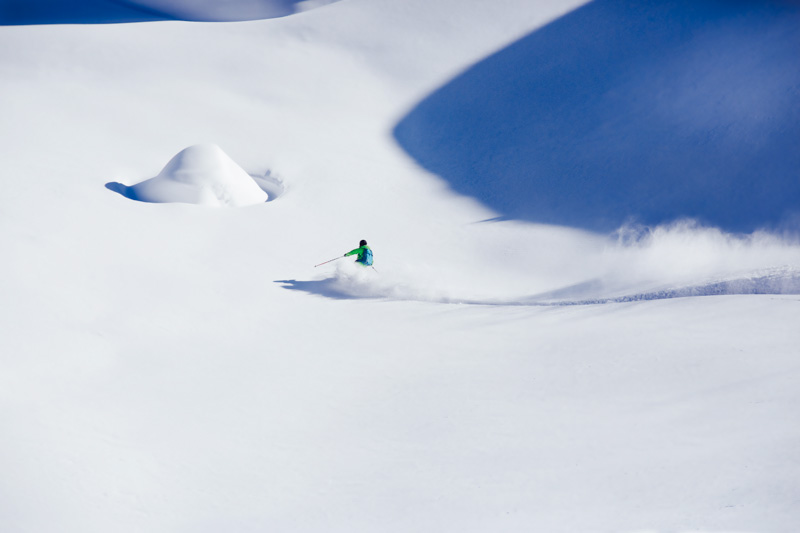 Christine Hargin enjoying those turns in perfect winter conditions