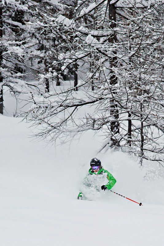 Norrona ambassador Christine Hargin getting some powder under her skis
