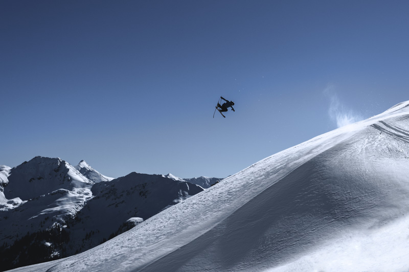 New school skier tobi Tritscher skiing in the alps