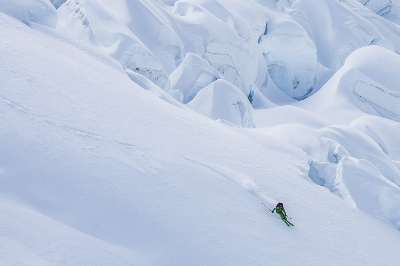Norrona ambassador and French freerider Bruno Compagnet skiing in Patagonia
