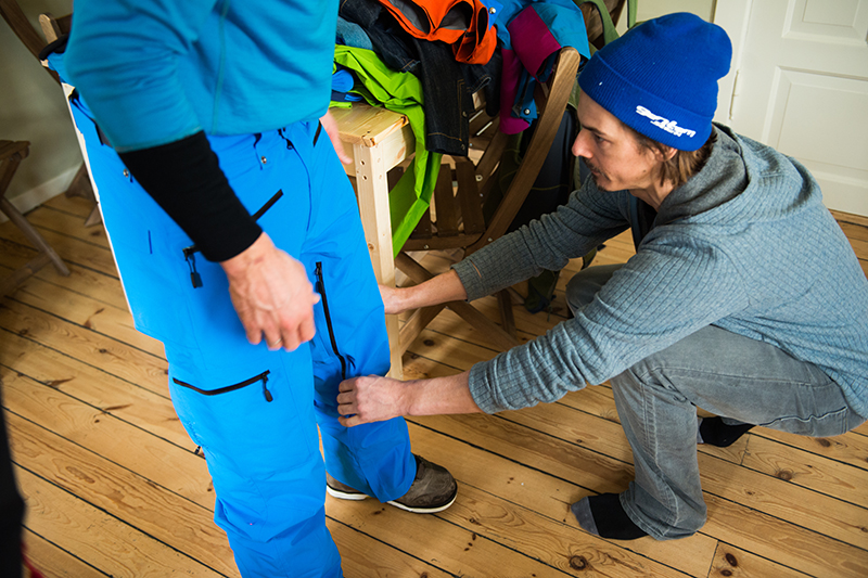 Adjusting the fit. Norrona ambassadors give feedback on new products.