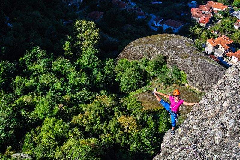 Eva Eskilsson is stretching out in the morning sun, Meteora, Greece