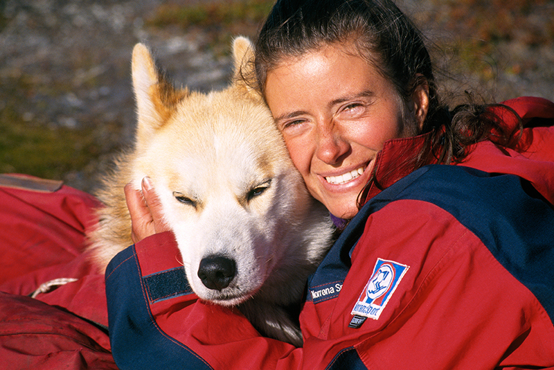 Marit Holm wiht dog that she traveled with on her trans Alaska trek